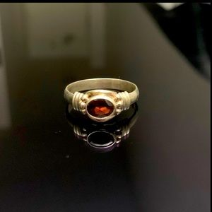 925 silver garnet ring (Authentic)